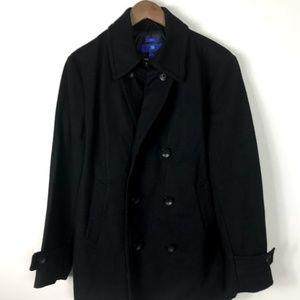 EGARA Slim Fit Wool Double Breasted Coat Black M